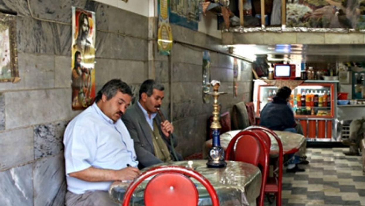 In a Tehran cafe.