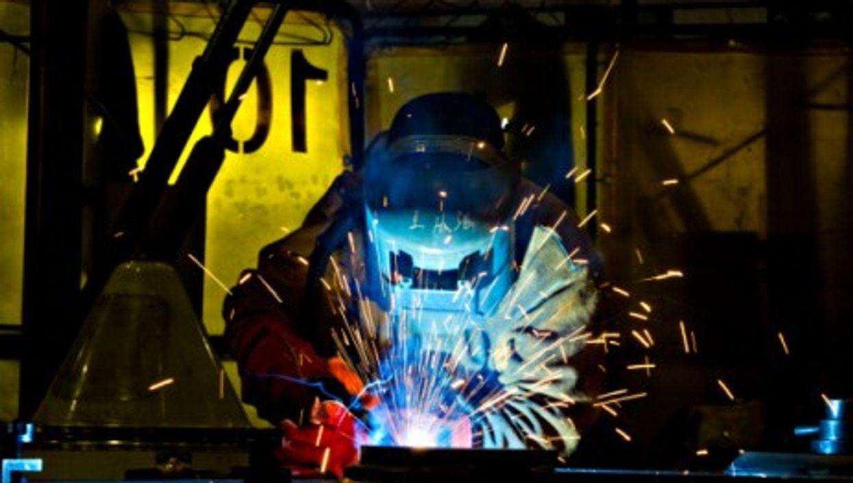 In a welding workshop in Suzhou, eastern China