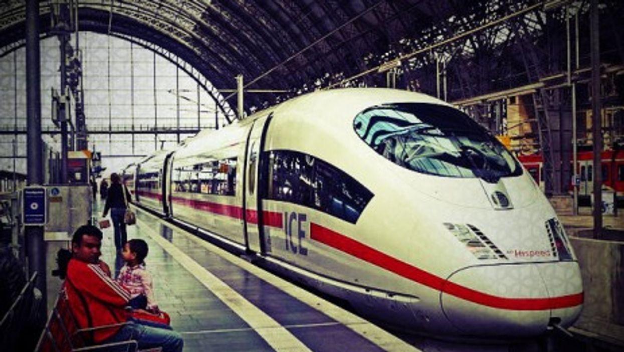 In Frankfurt, a European locomotive...