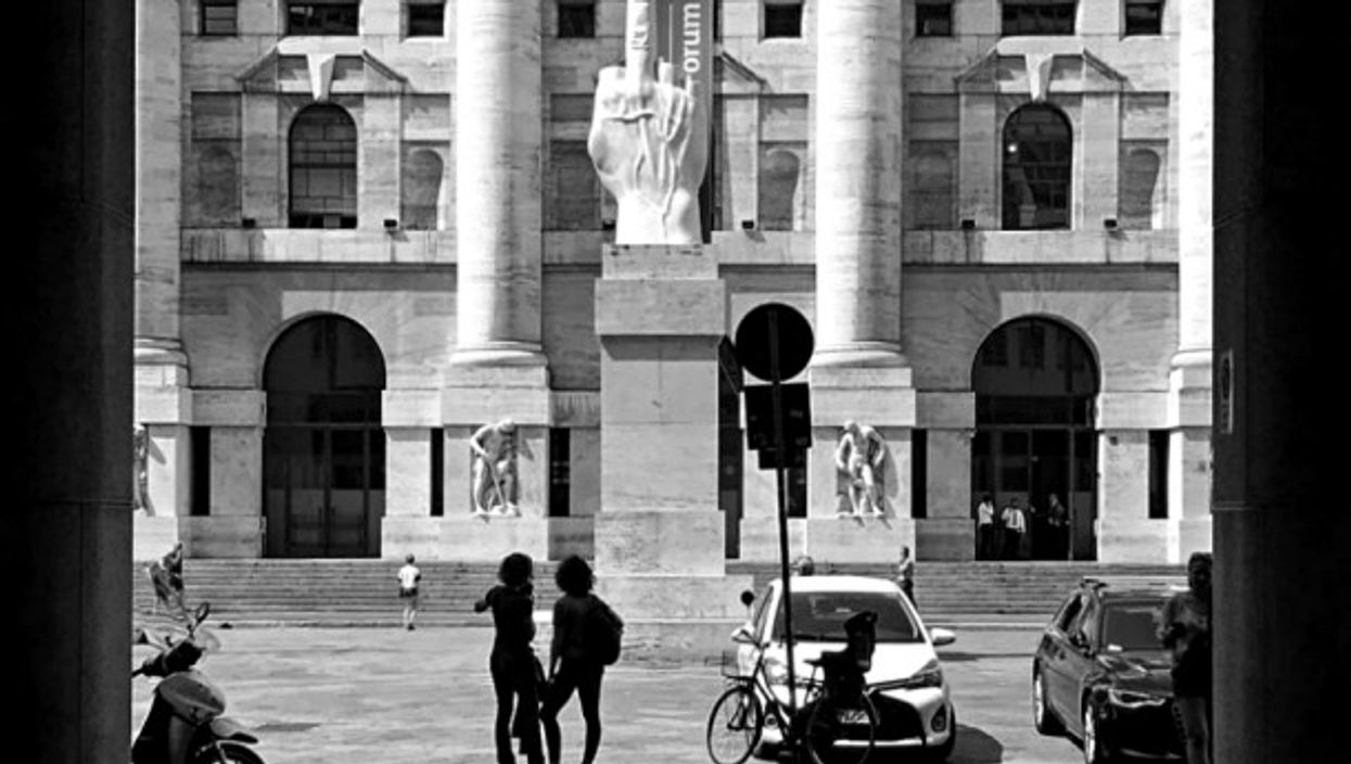 In front of Milan's Borsa Italiana stock exchange