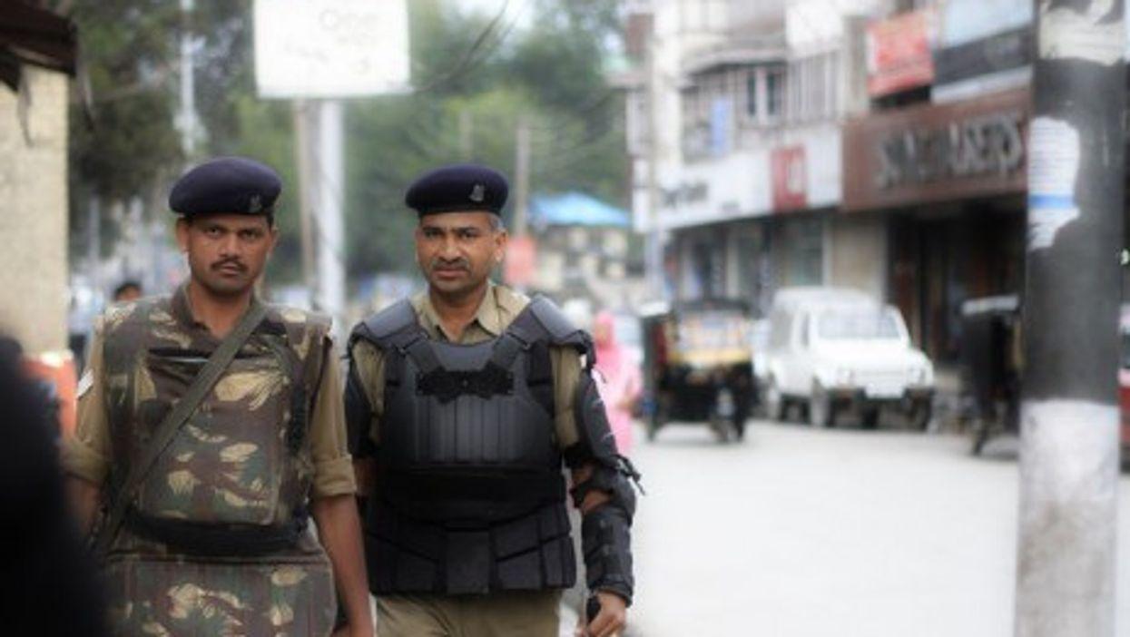 Indian soldiers on patrol in Srinagar, Kashmir.