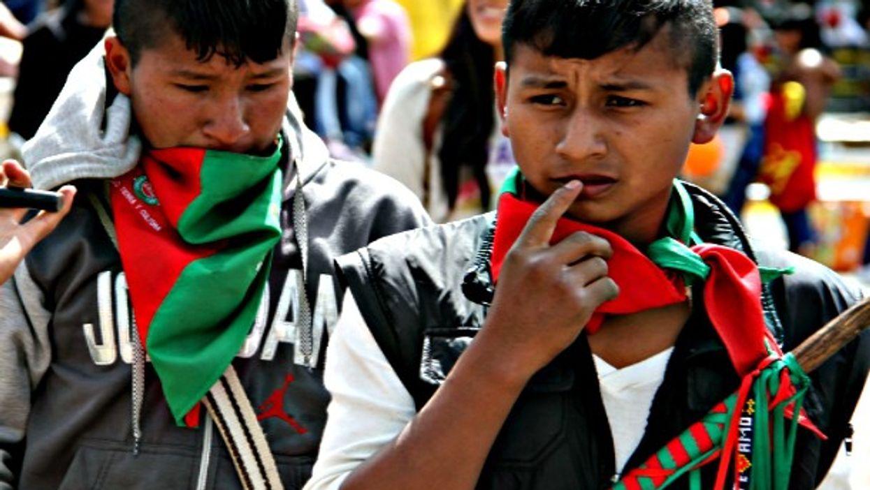 Indigenous children in Colombia protest in Bogota in November 2015