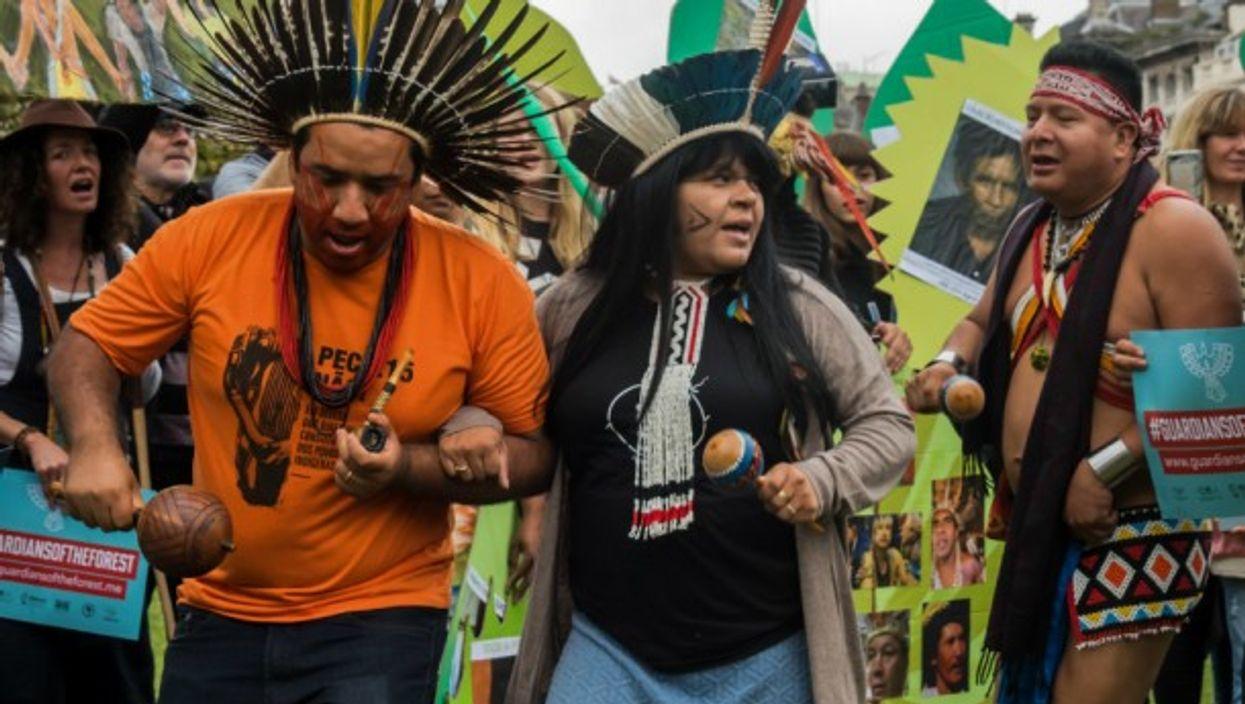 Indigenous leaders protesting in London