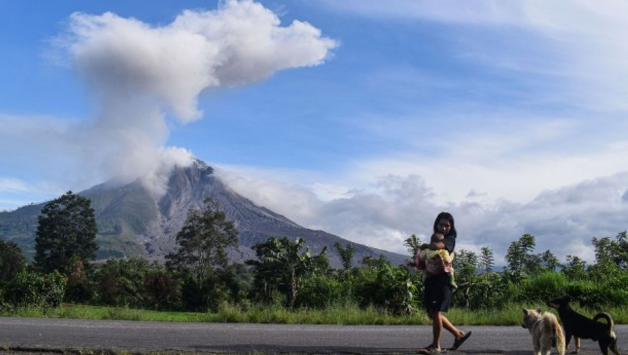 Indonesia's volcano Mount Sinabung in North Sumatra erupted several times on Tuesday, shooting ashes up to 1,000 meters above its peak.