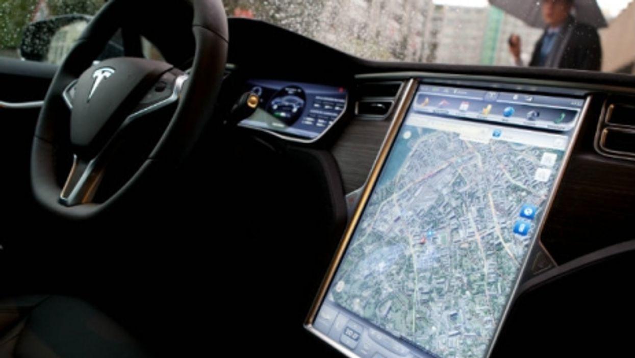 Inside a Tesla in Geneva