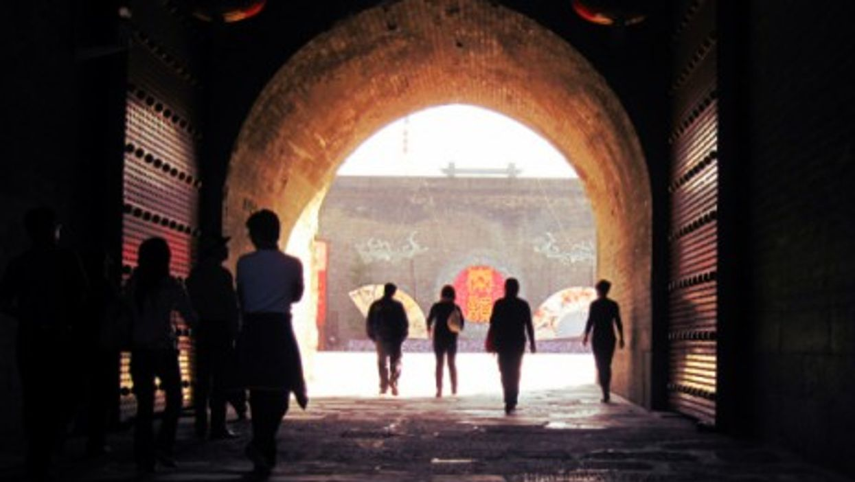 Inside the old city gate in Xi'an
