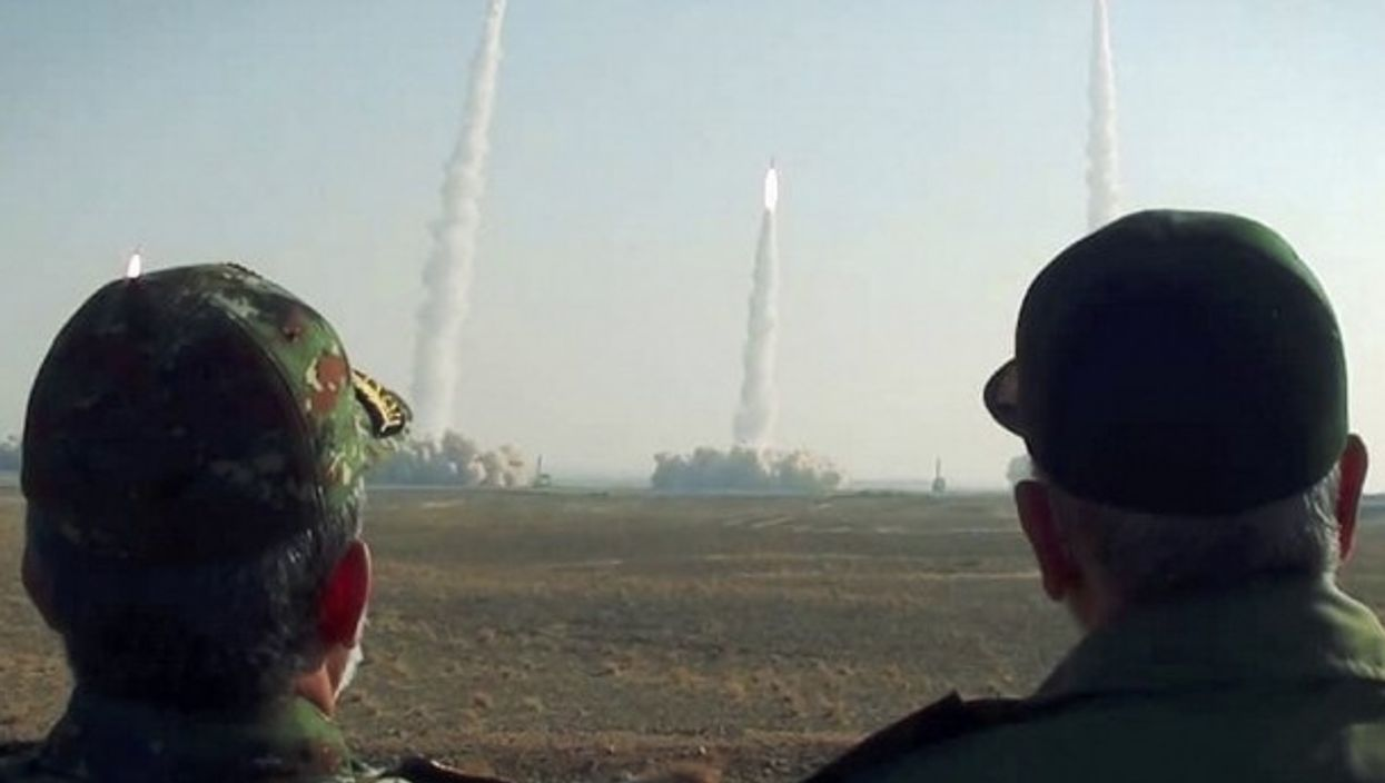 Iran's Revolutionary Guard holding a missile drill