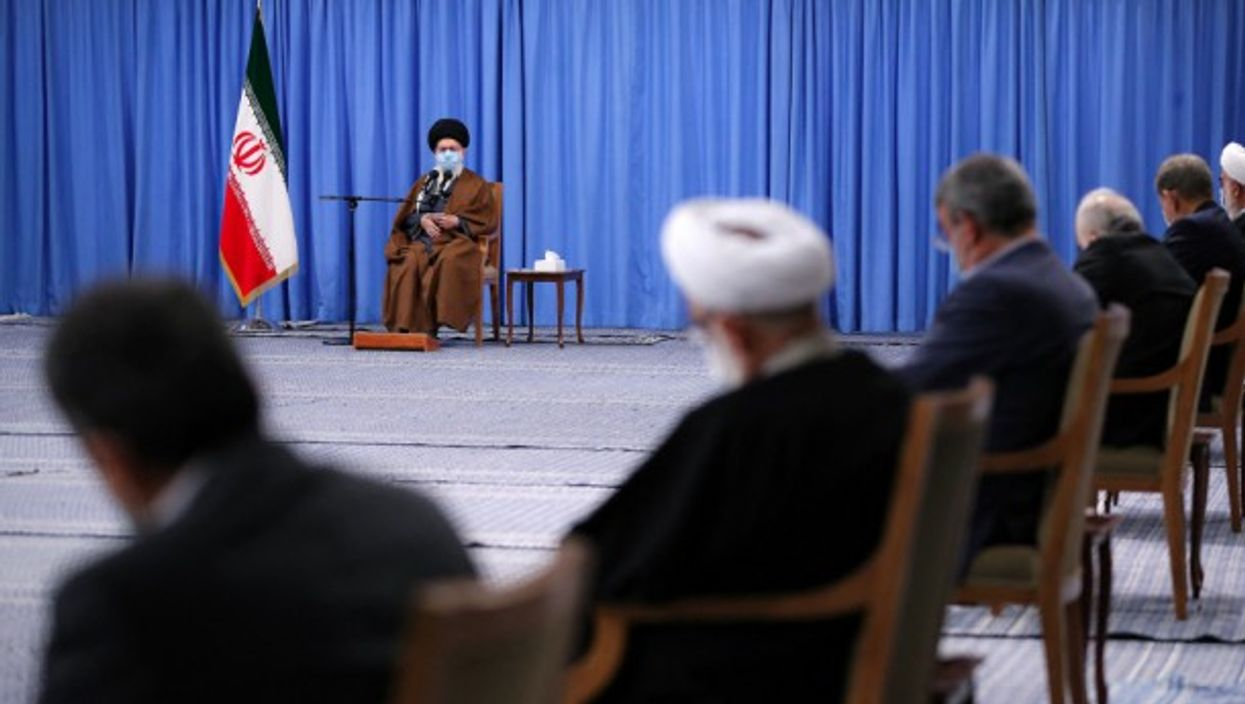 Iranian Supreme leader Ayatollah Ali Khamenei during a meeting with the government