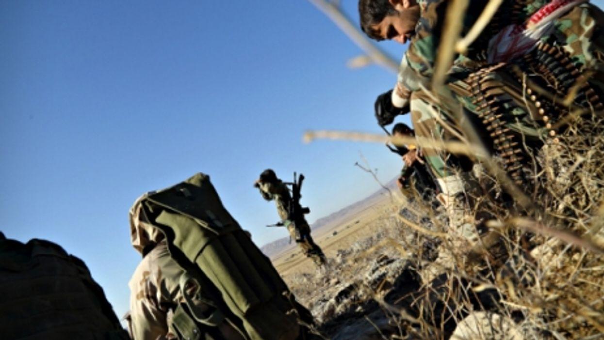 Iraqi Peshmerga fighters near Sinjar on Nov. 12