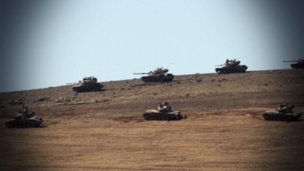 ISIS tanks near the Syria-Turkey border