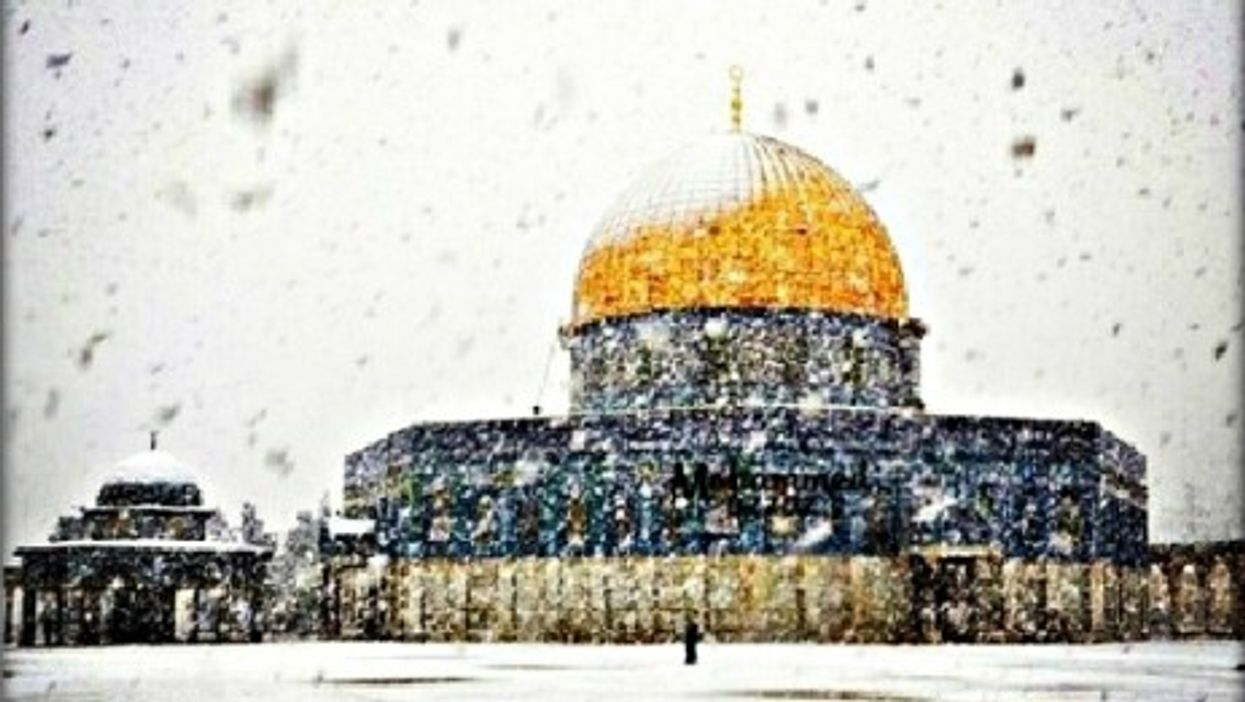 Jerusalem's Dome of the Rock under December snow