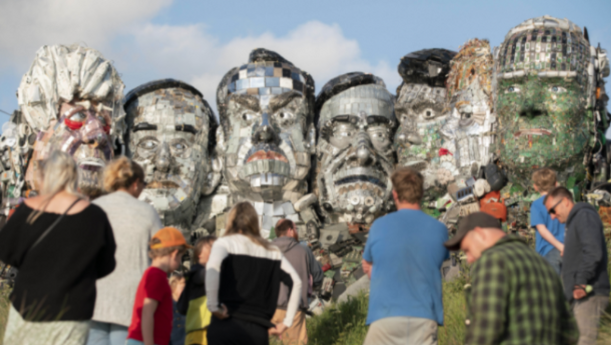 """Joe Rush's """"Mount Recyclemore"""" in Cornwall, UK, uses e-waste to depict G7 leaders"""