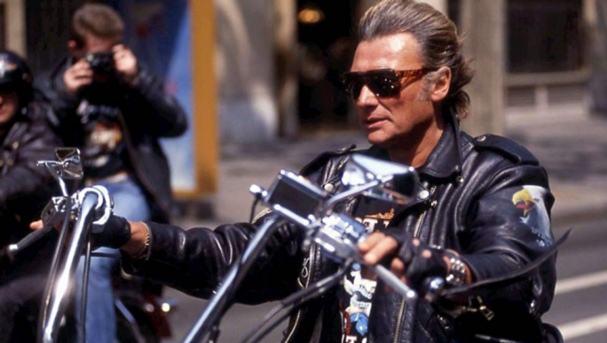Johnny Hallyday riding his Harley-Davidson in the 1980s