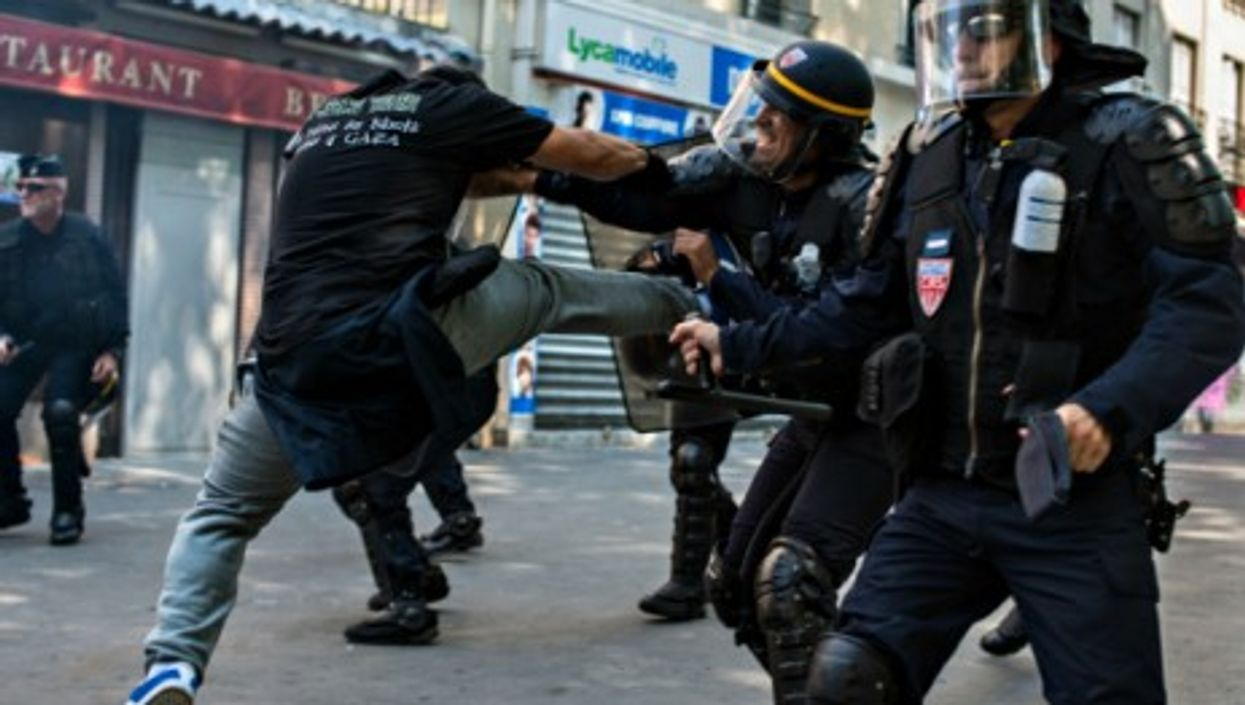 July 19 clashes between anti-riot police and pro-Palestinian protesters in Paris.