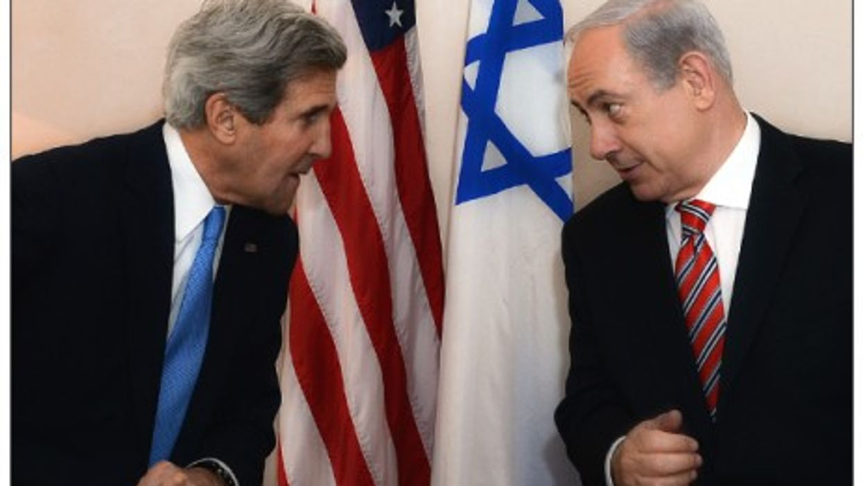 Kerry and Netanyahu in Jerusalem on April 9, 2013