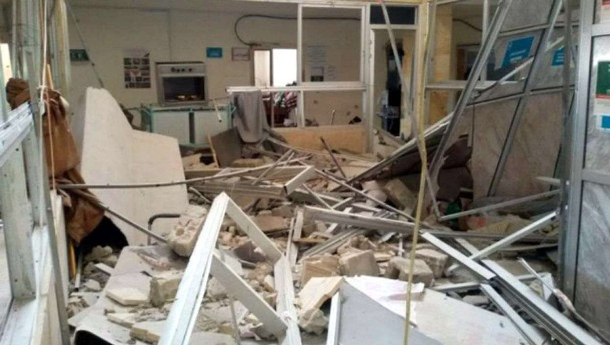 Kfr Nobol Hospital, ravaged by an airstrike