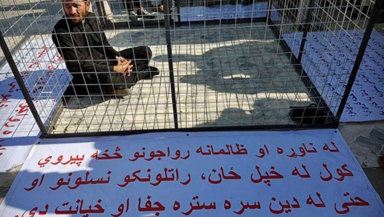 Khanwali Adil protesting the enslavement of women