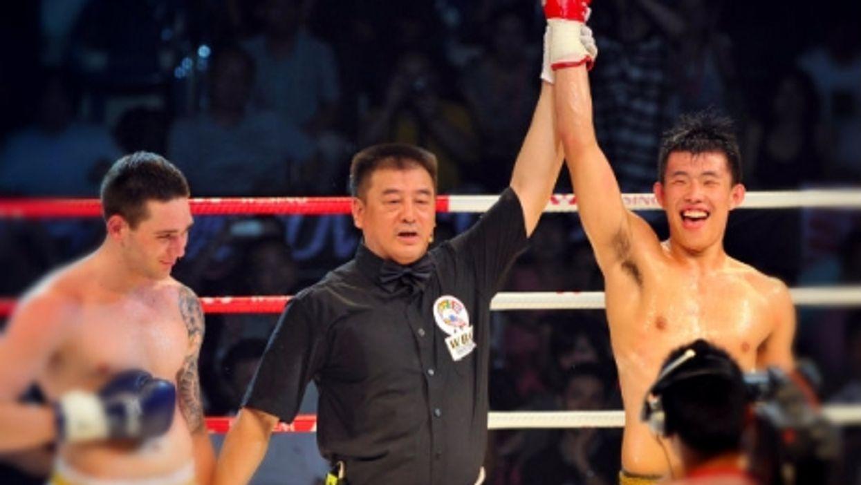 Kickbox victory is sweet.