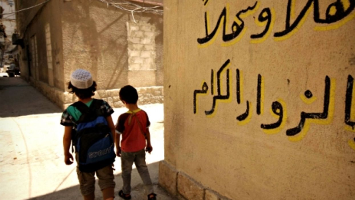 Kids on their way to school in Aleppo