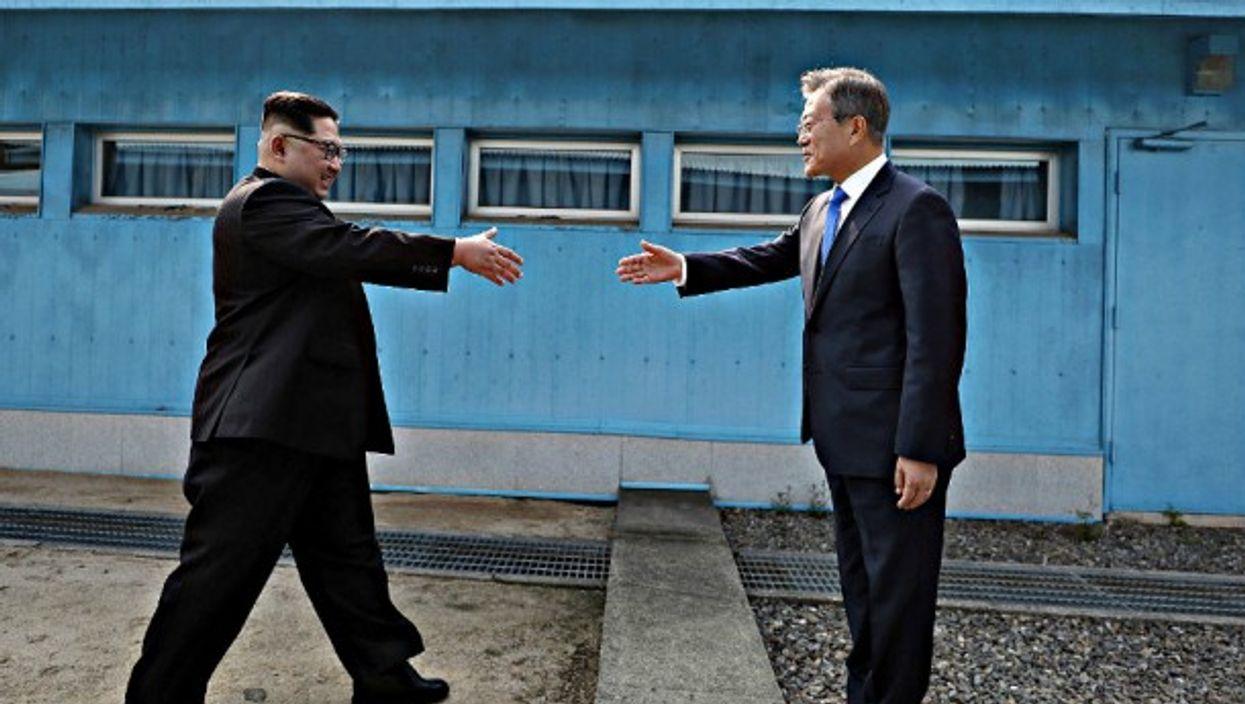Kim and Moon and a historic handshake