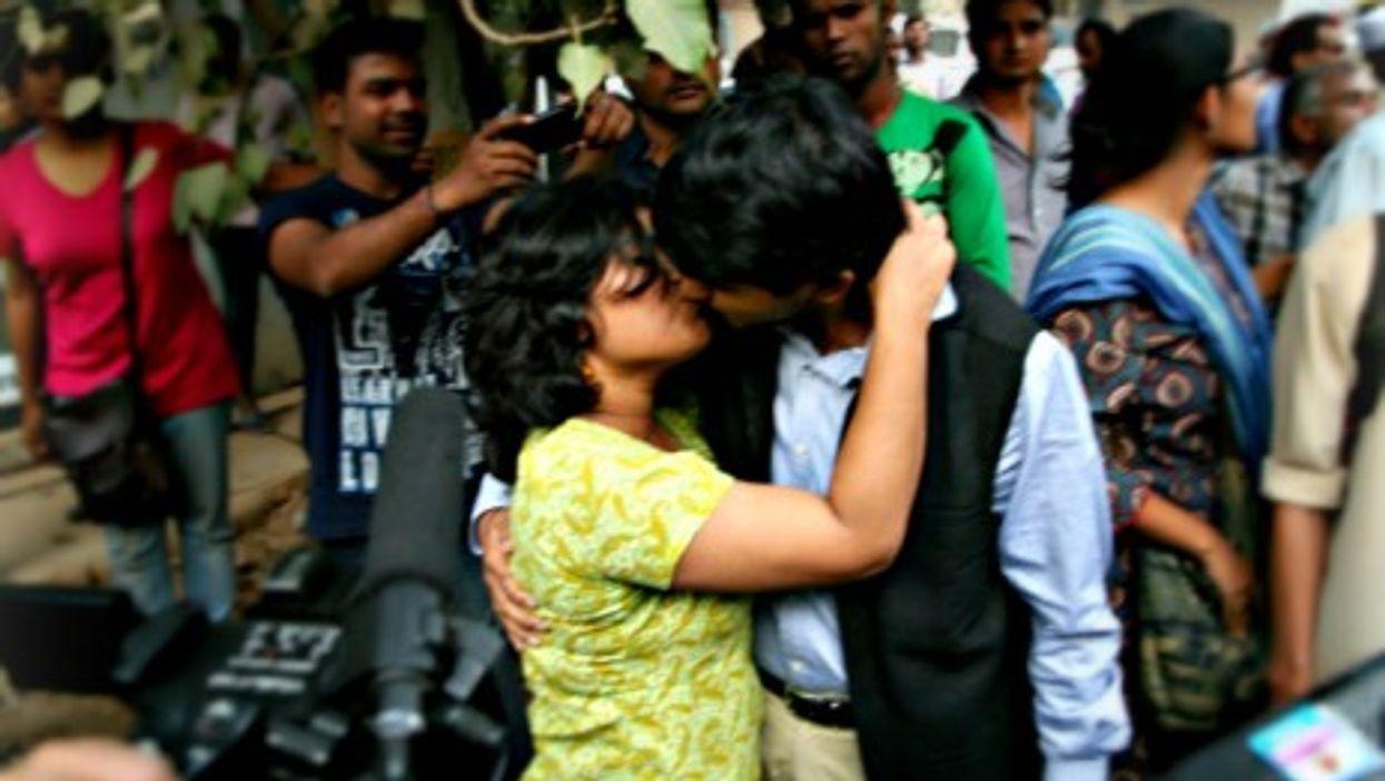 """""""Kiss of Love"""" protesters in New Delhi on Nov. 8"""