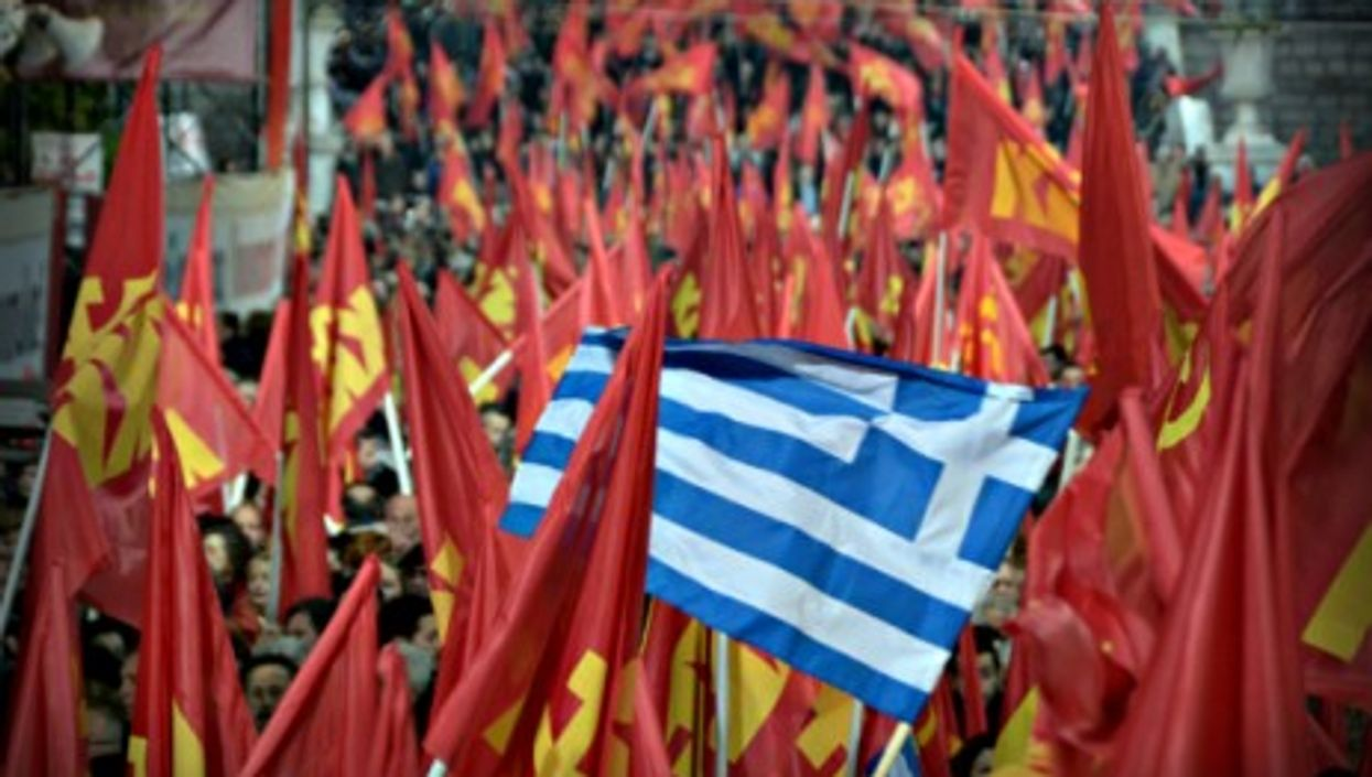 KKE supporters in Athens on Jan. 22