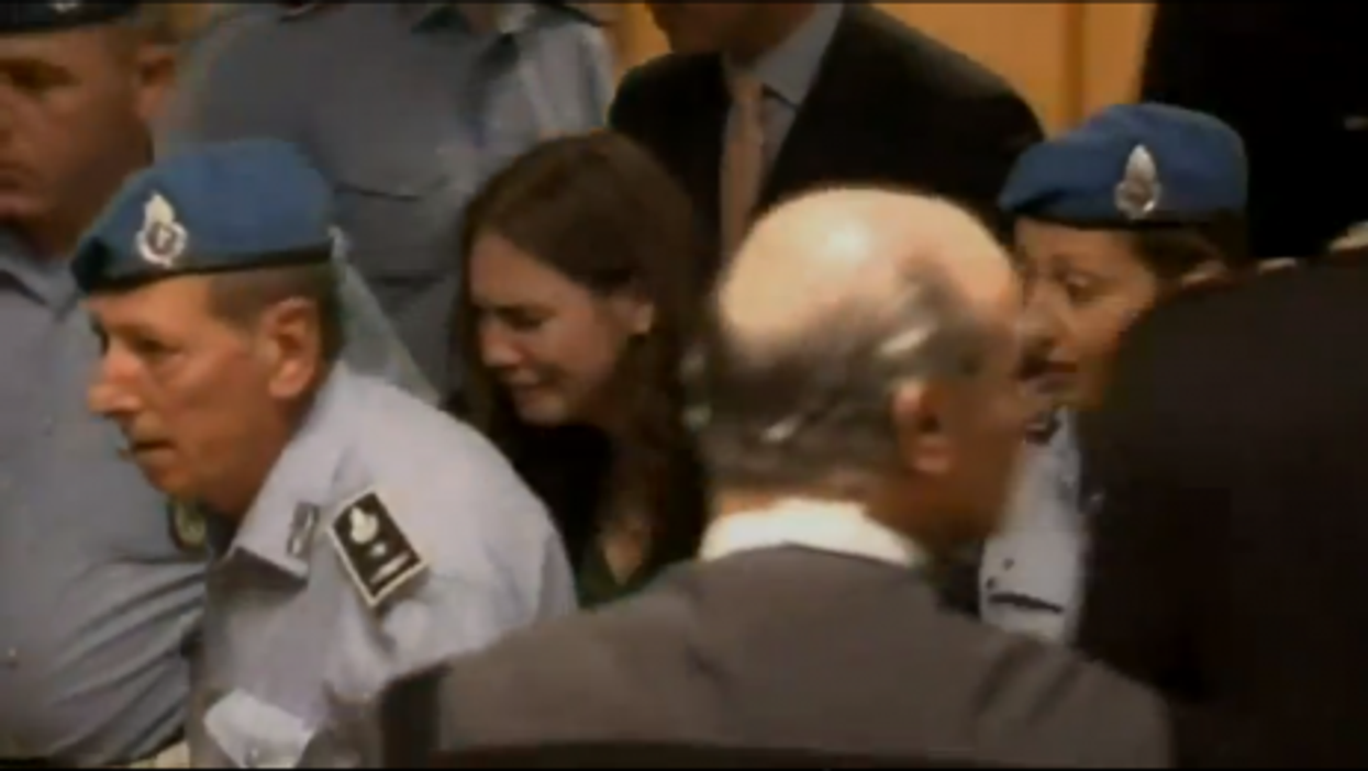 Knox leaving the court after the Monday's verdict