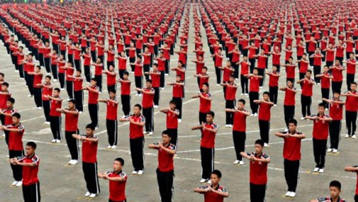 Kung Fu students at the 10th Zhengzhou International Shaolin Wushu Festival