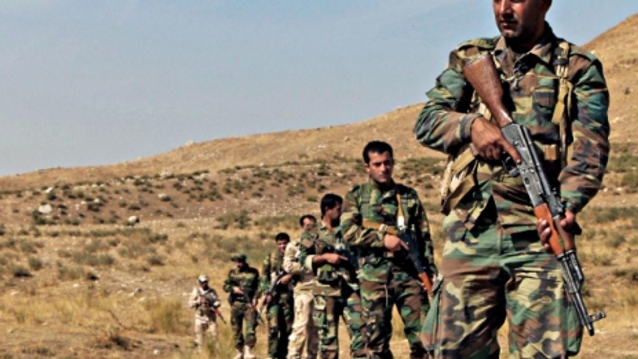 Kurdish Peshmerga soldiers training near Erbil, Iraq