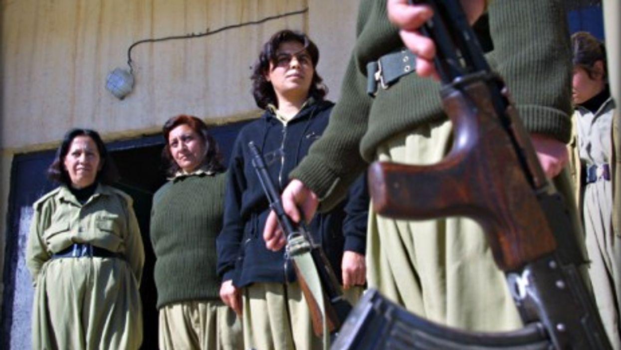 Kurdish women training to be fighters.