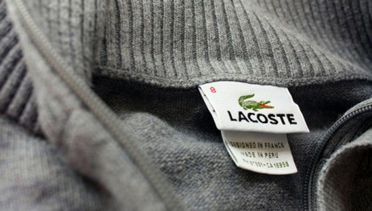 Lacoste, designed in France, made in Peru