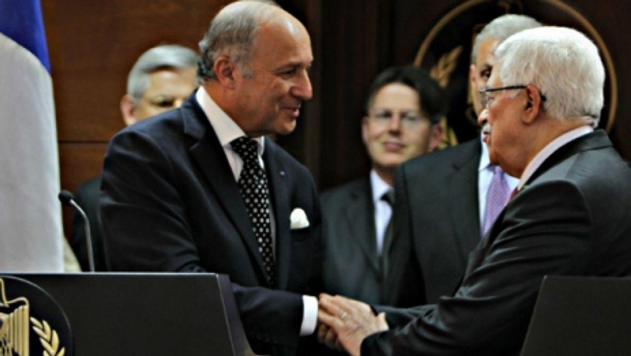 Laurent Fabius and Mahmoud Abbas in Ramallah