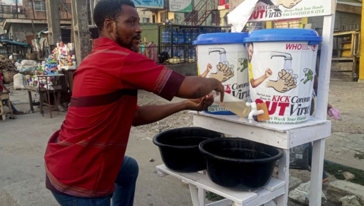 Lavatories for people to wash their hands on the streets of Lagos, Nigeria