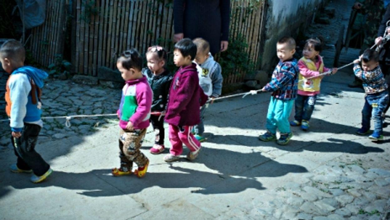 Left-behind children near Huangshan City, eastern China