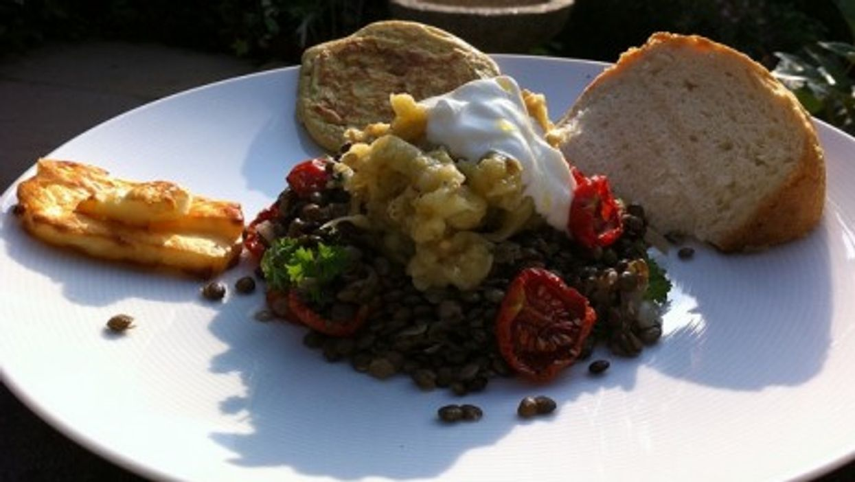 Lentils with grilled aubergine, from Ottolenghi's