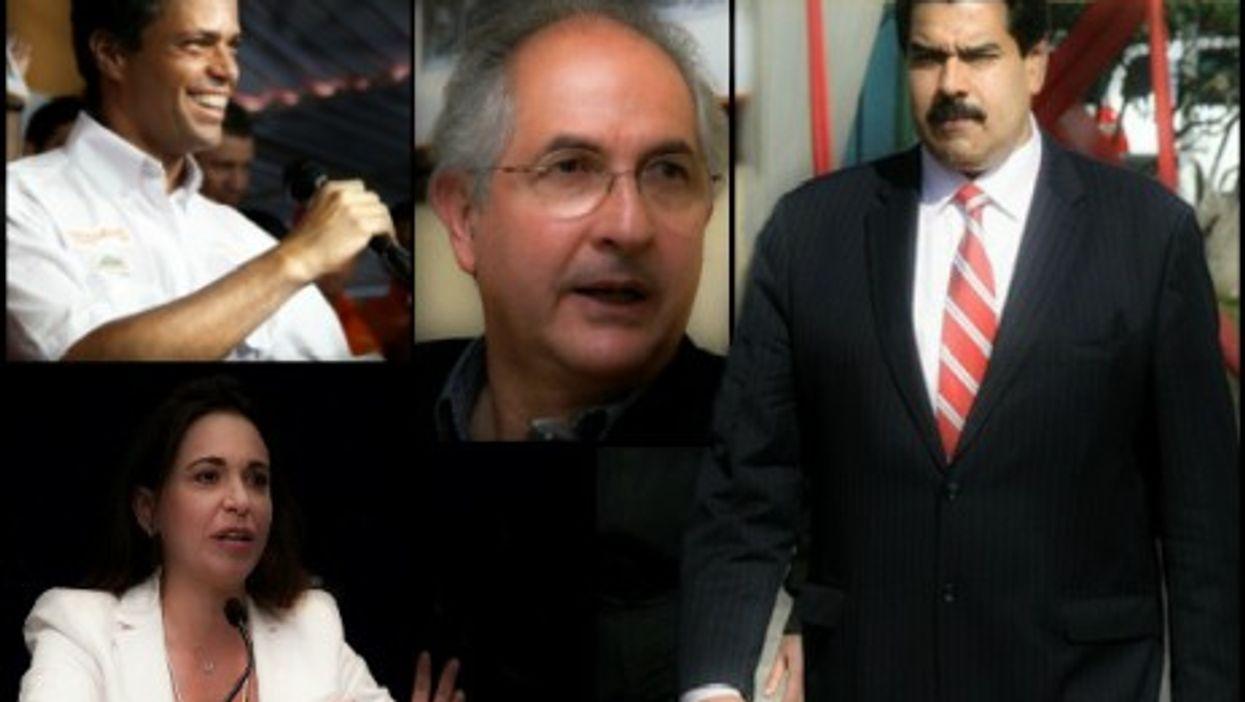 Leopoldo Lopez (top left), Antonio Ledezma (center), Maria Corina Machado (bottom left) vs. Nicolas Maduro