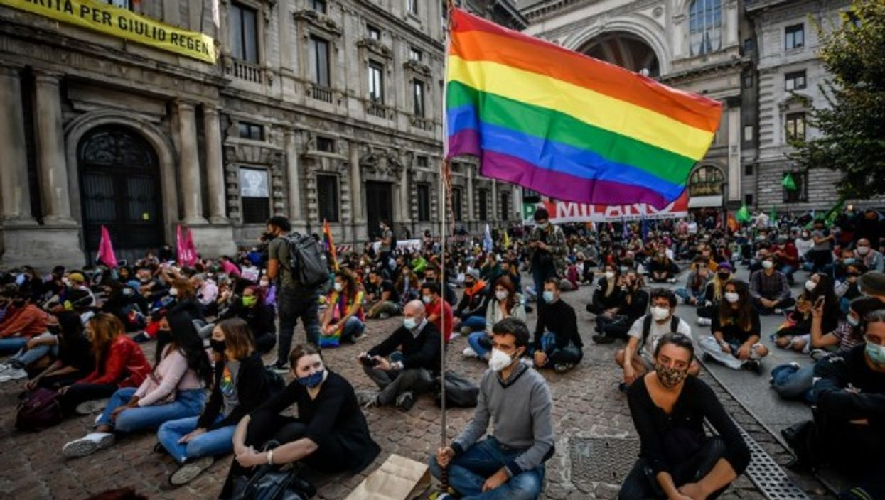 LGBTQ protest in Milan, Italy, October 2020.
