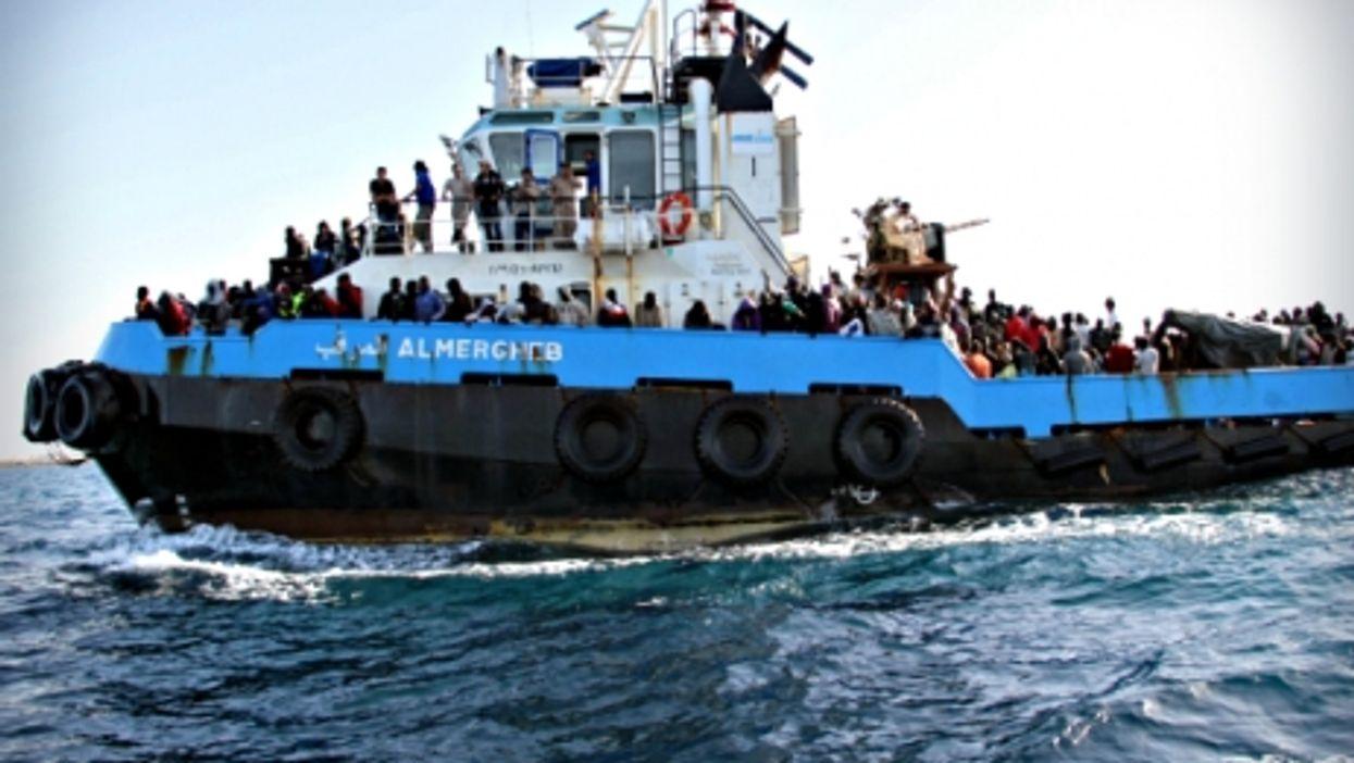 Libyan coastguard boat carrying illegal migrants on May 3