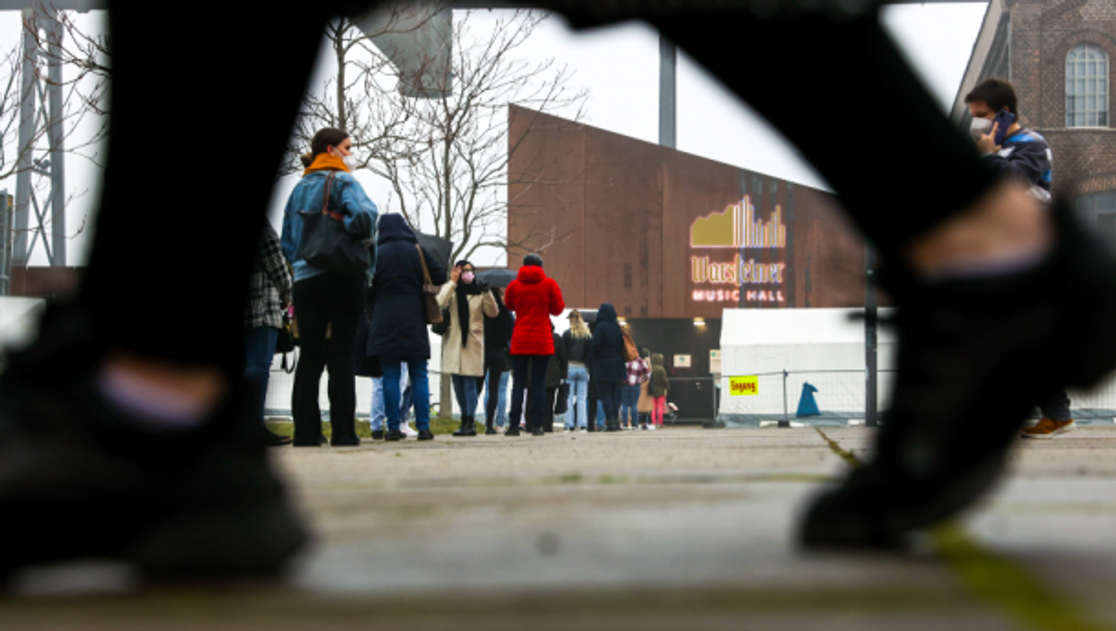 Line at a vaccination center in Dortmund, Germany