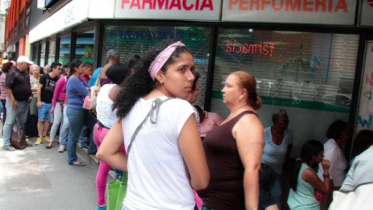 Lines forming outside a Caracas pharmacy in September.