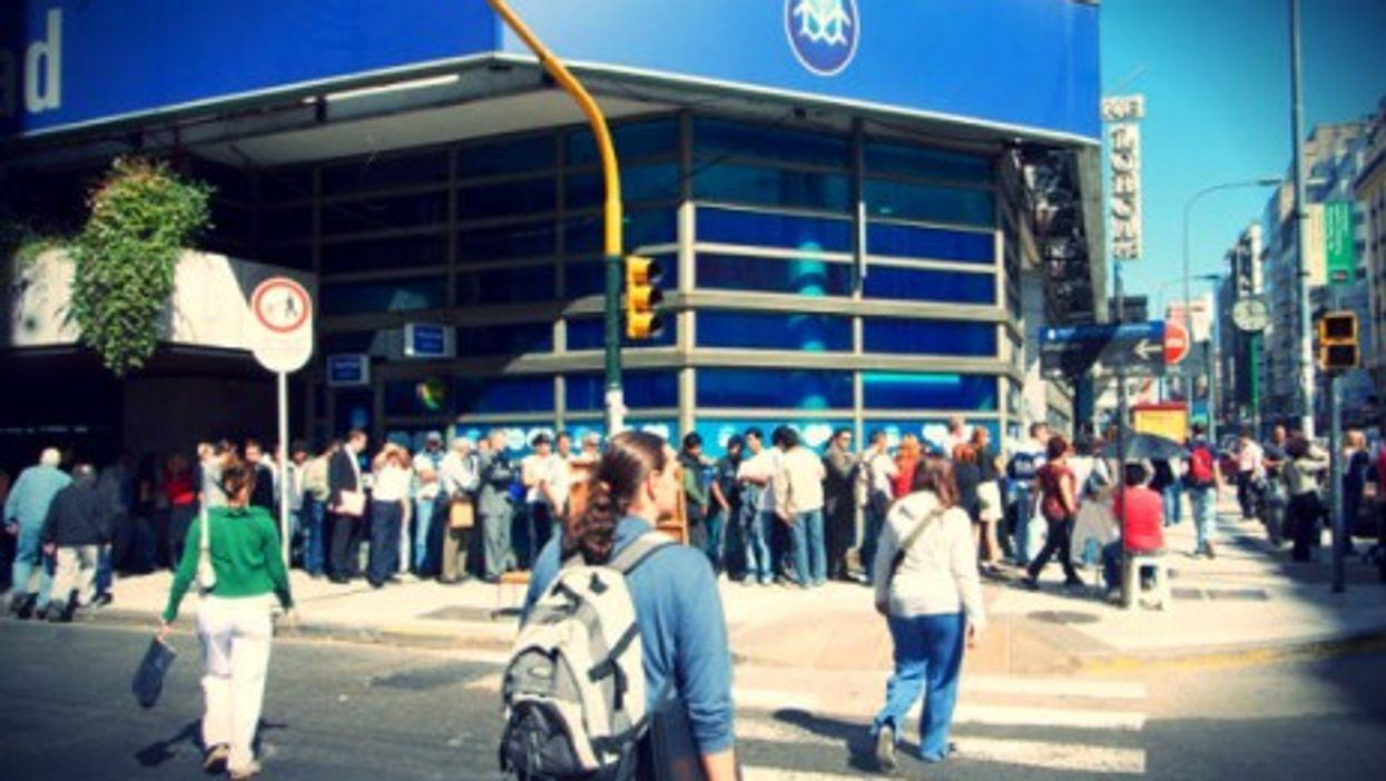 Lining up at a Buenos Aires bank