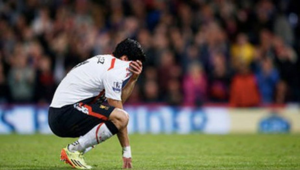 Liverpool's Luis Suaraz breaks down in tears during the game against Crystal Palace Monday.