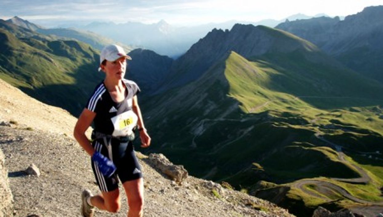 Lizzy Hawker running the 2009 Trail des Cerces in the French Alps