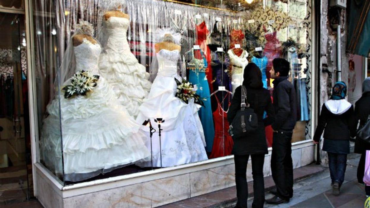 Looking at a bridal shop in Tehran
