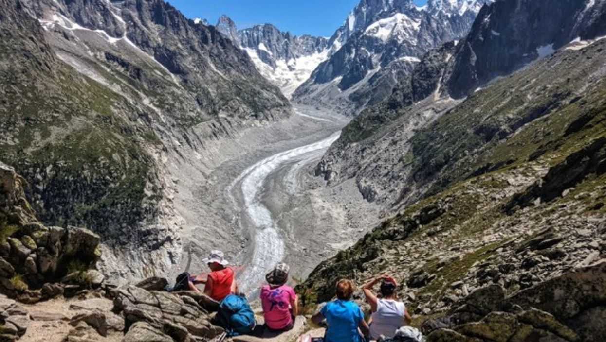 Looking over at the Mer de Glace