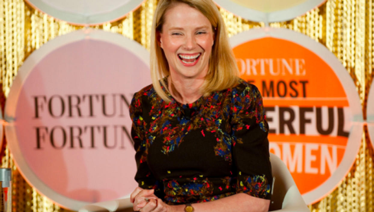 Lucky Woman: Yahoo boss Mayer, pictured last month