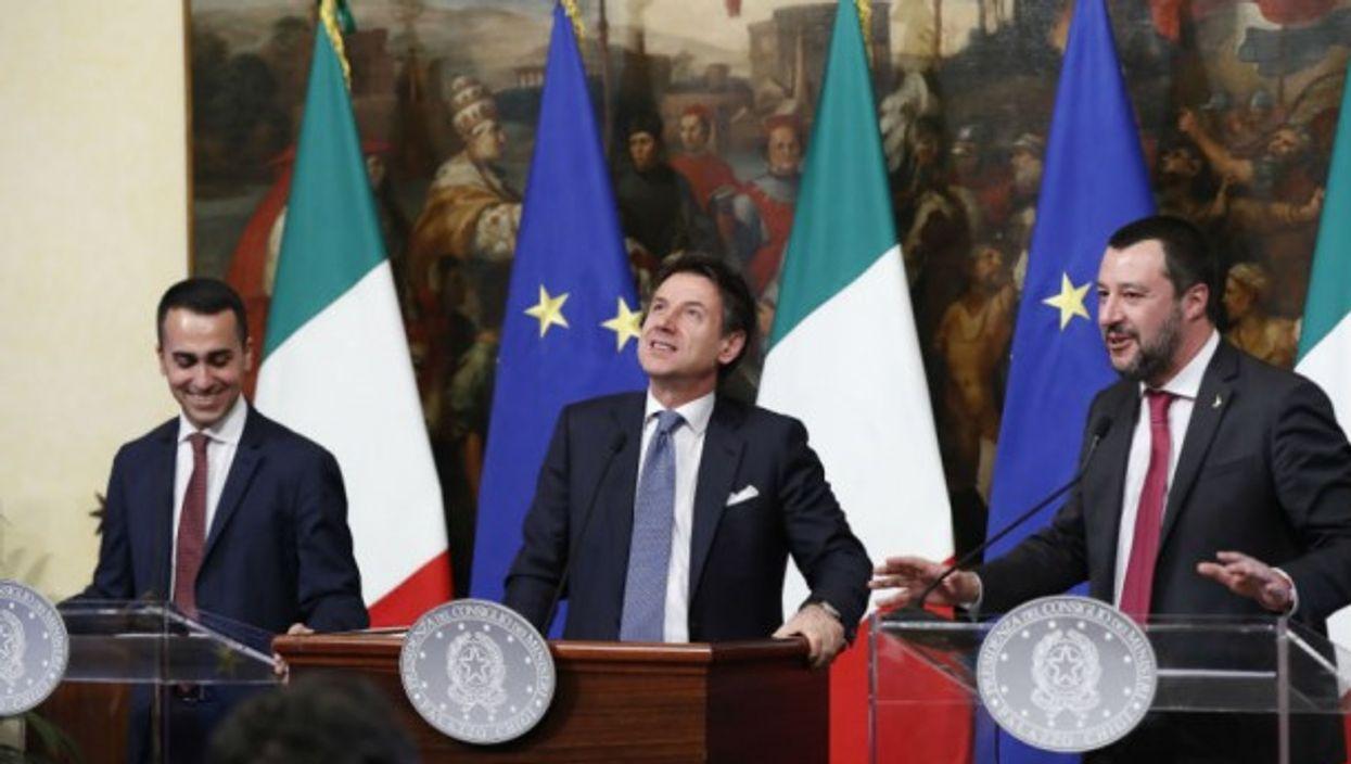 Luigi Di Maio, Giuseppe Conte and Matteo Salvini at a press conference