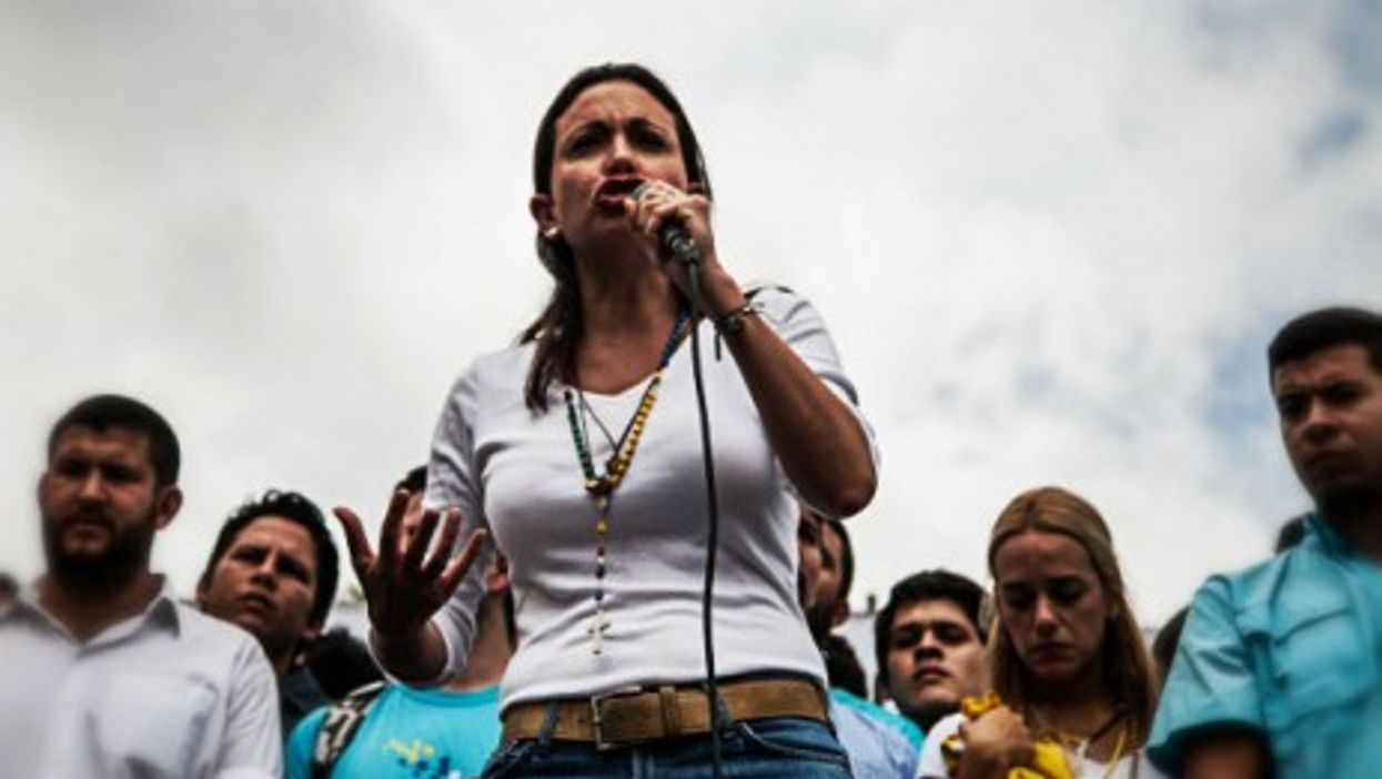 Machado at a public rally in June