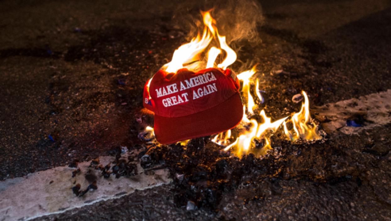 MAGA hat burning In Washington, D.C., on Nov. 14
