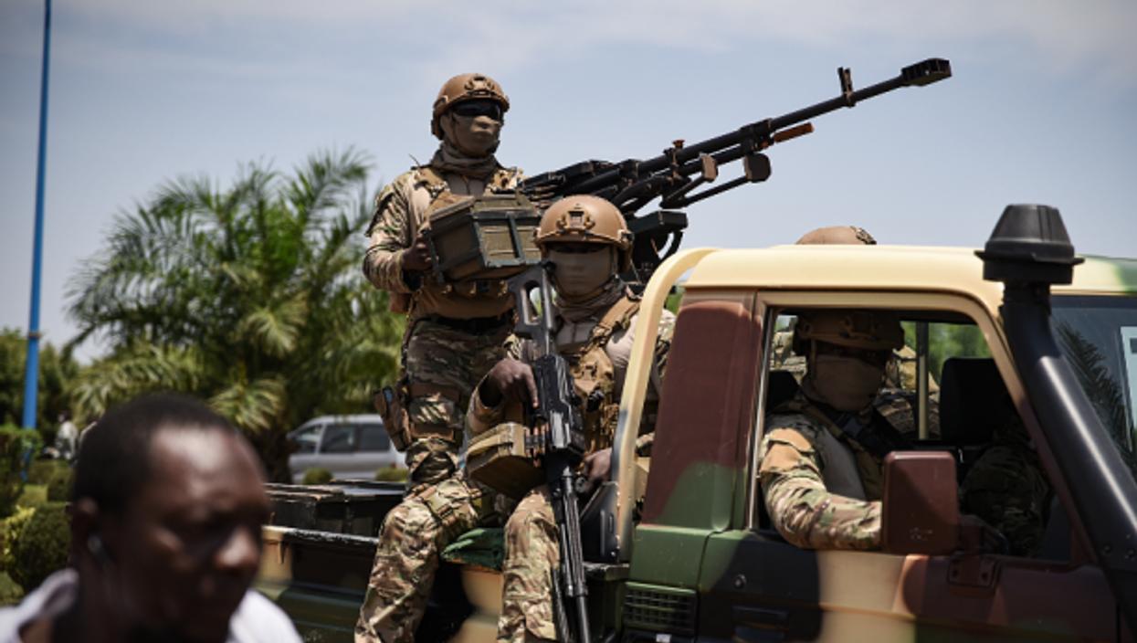 Malian soldiers accompanying Colonel Goita on May 31